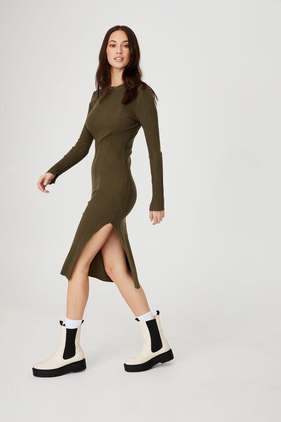 Ultimate Knit Split Midi Dress, DUSTY OLIVE