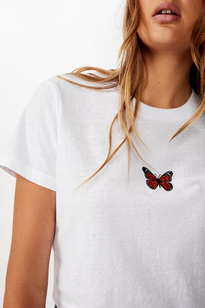Tbar Cara Graphic Crop T Shirt, BUTTERFLY EMBROIDERY/WHITE