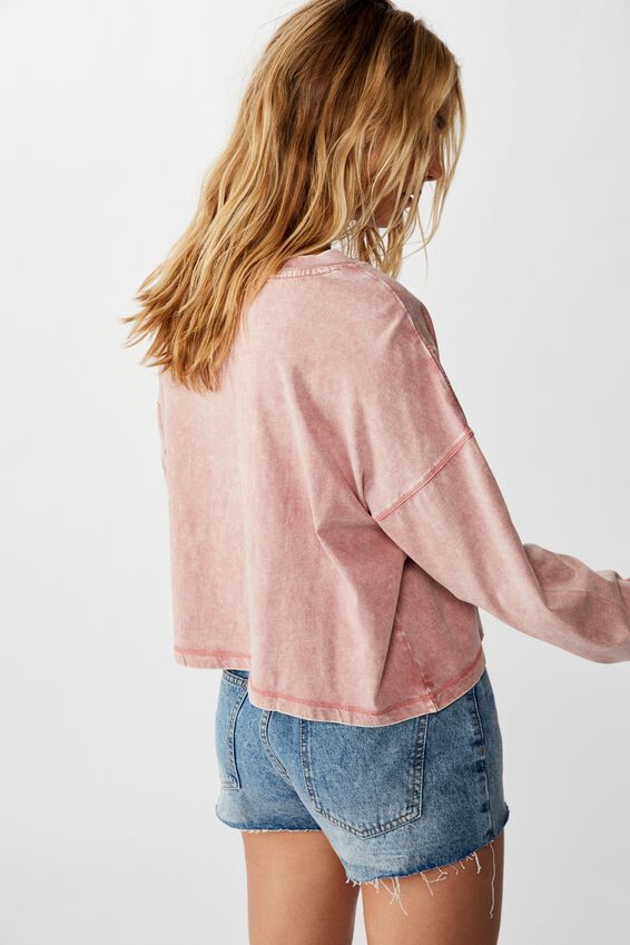 Harris Crew Neck Long Sleeve Top, WASHED CANYON ROSE