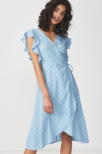 Woven Winnie Wrap Hi Low Dress, LENY SPOT PRAIRIE BLUE