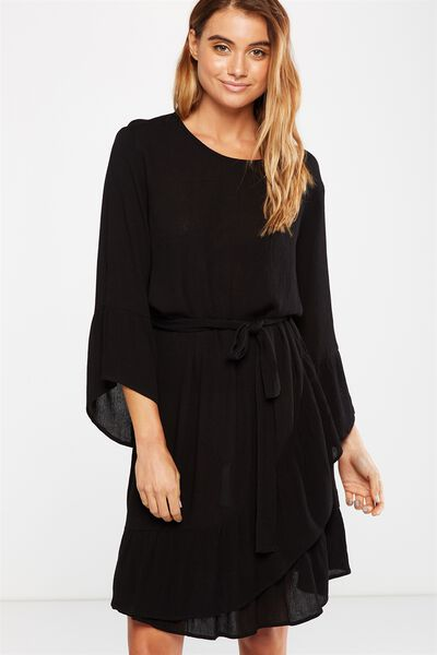 Woven Monique Long Sleeve Dress, BLACK