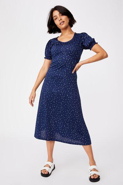 Elina Short Sleeve Midi Dress, BELLA DITSY MEDIEVAL BLUE