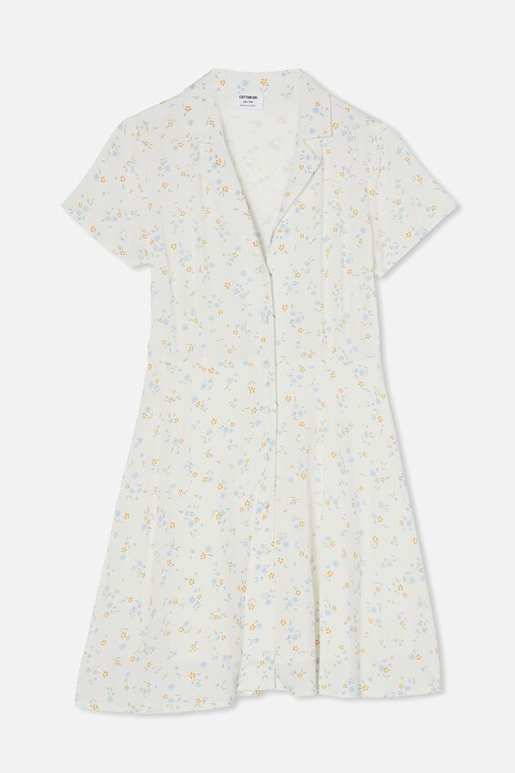 Woven Connie Button Down Mini Dress, LAYLA DITSY WHITE