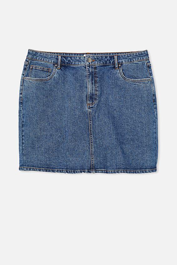 Curve Denim Mini Skirt, COOGEE BLUE