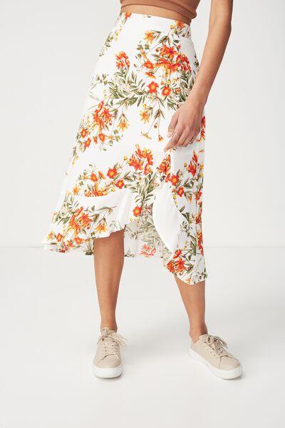 Woven Dana Drapey Midi Skirt, HANNAH FLORAL MARSHMALLOW