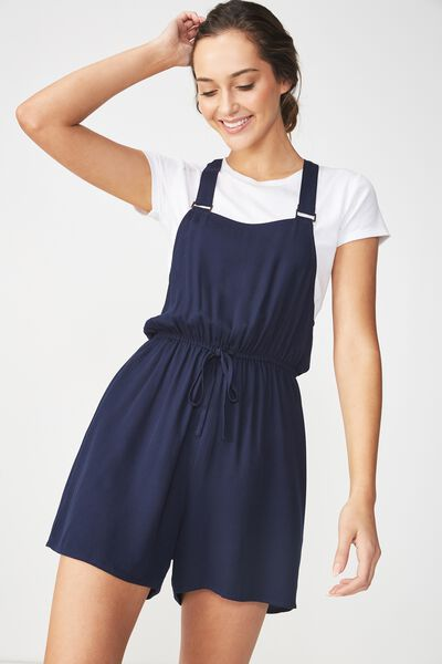 Woven Tahlia Twill Playsuit, NAVY