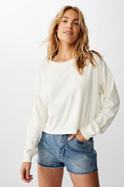 Harris Crew Neck Long Sleeve Top, WASHED GARDENIA