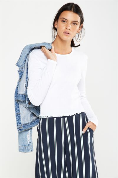 Shelly Crop Babylock Long Sleeve, WHITE