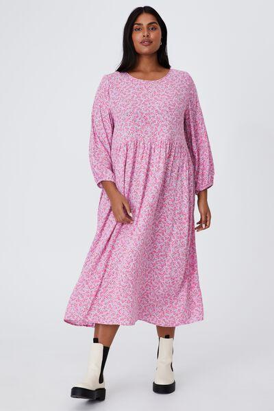Curve Good Times Babydoll 3/4 Sleeve Maxi Dress, KENDELLE DITSY SOFT MAUVE