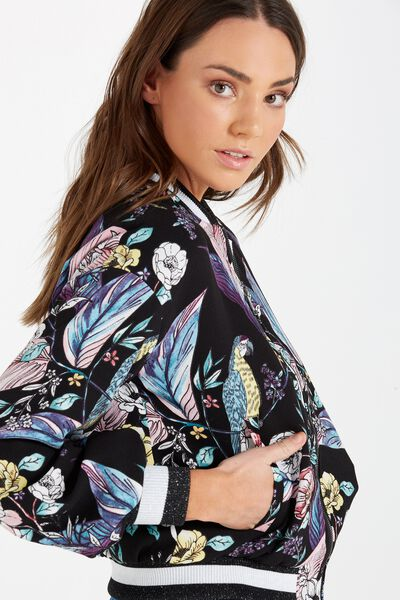 Candice Blouson Sleeve Bomber Jacket, WILDERNESS BLACK PRINT