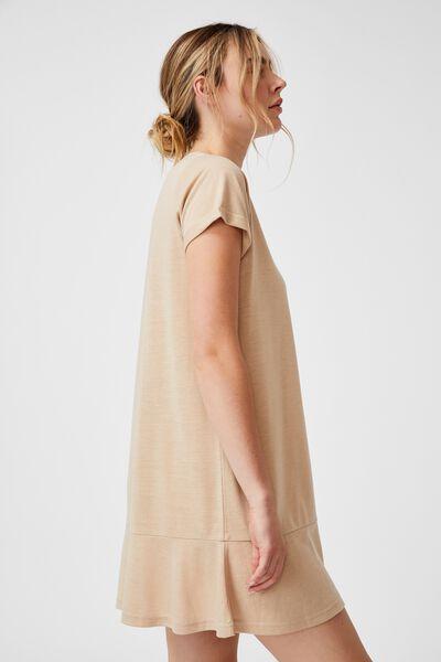 Tiana Oversized Fluted Hem Dress, LATTE