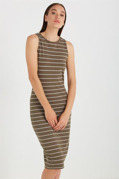 Kellie Muscle Midi, KHAKI BROWN/WHITE LIN STRIPE