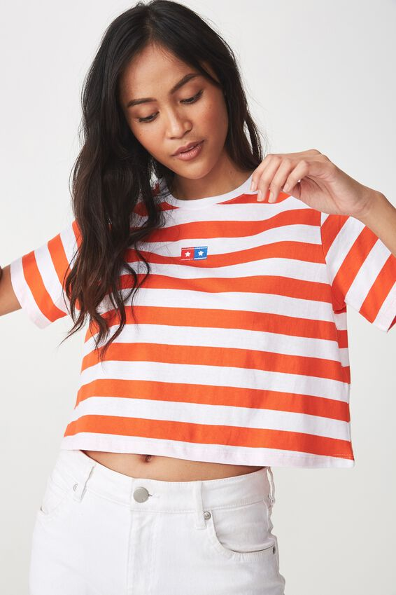 Tbar Arizona Graphic Chop Tee, STAR LOGO/WHITE MANDARIN RED STRIPE