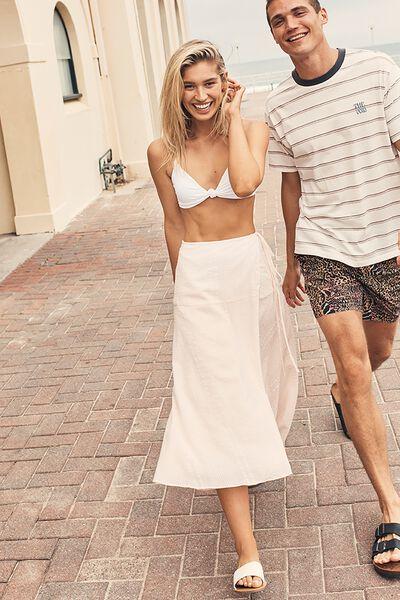 Aubrey Wrap Midi Skirt, WHITE