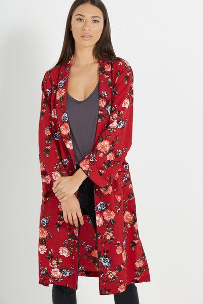 Pj Kimono, ANTIQUE FLORAL RUBY RED
