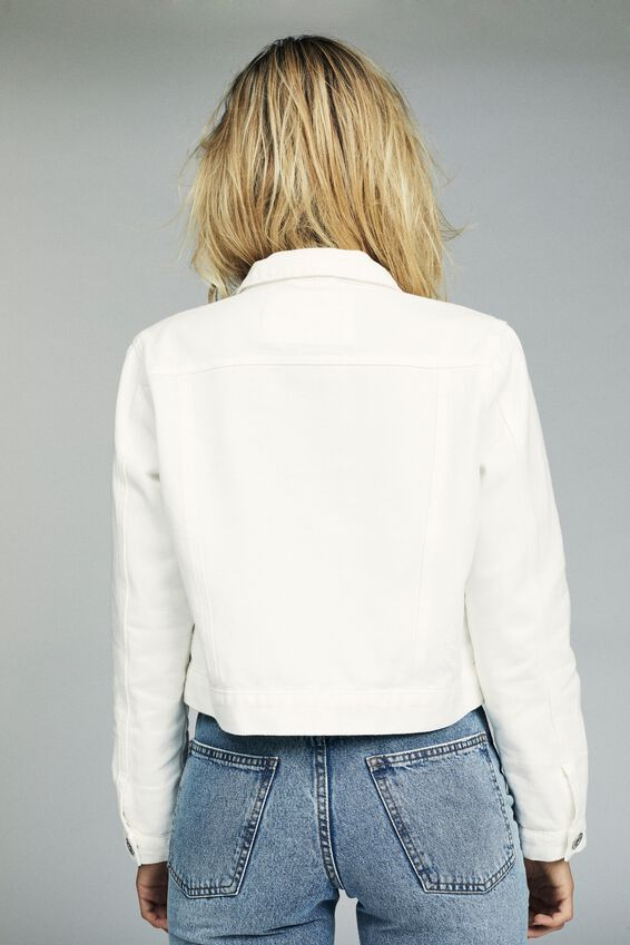 Girlfriend Denim Jacket, WHITE