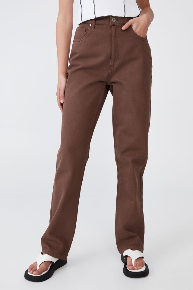 Long Straight Jean, CHOCOLATE