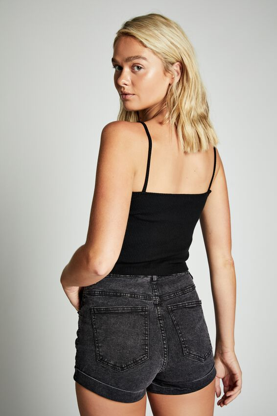 High Rise Classic Stretch Denim Short, SUPER WASHED BLACK