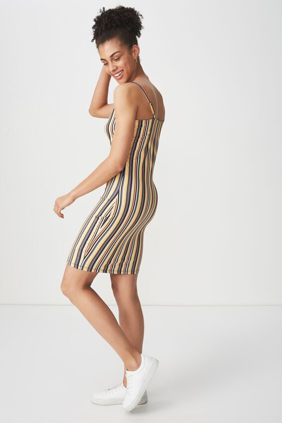 Freya Bodycon Dress, ASH STRIPE YELLOW
