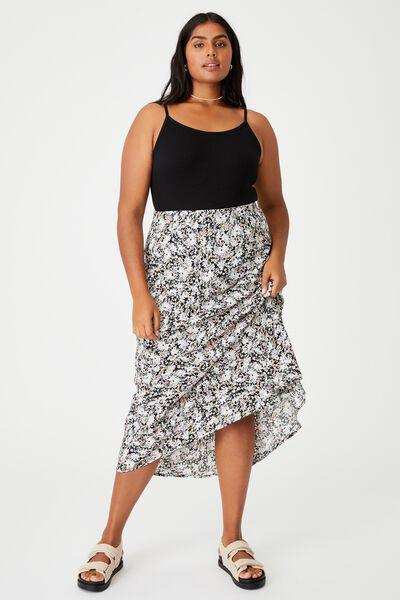 Curve All Day Slip Skirt, DIANE FLORAL BLACK