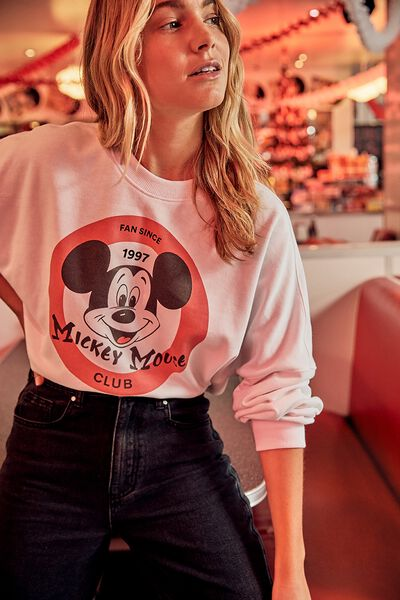 Personalised Mickey Boxy Crew Fleece, CNY LCN DIS MICKEY MOUSE CLUB/WHITE