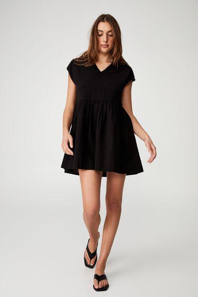 Woven Tatum Sleeveless Lace Front Mini Dress, BLACK