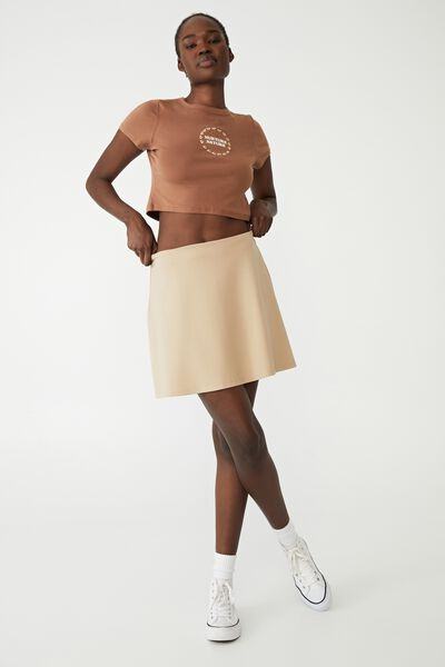 Petite Tilly Fit And Flare Ponte Skirt, LINEN TAUPE