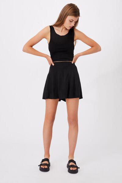 Pleated Tennis Mini Skirt, BLACK