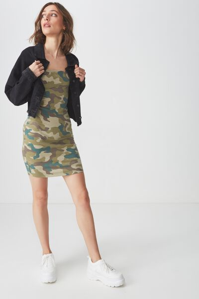 Peyton Square Neck Bodycon Mini Dress, CATE CAMO OLIVE