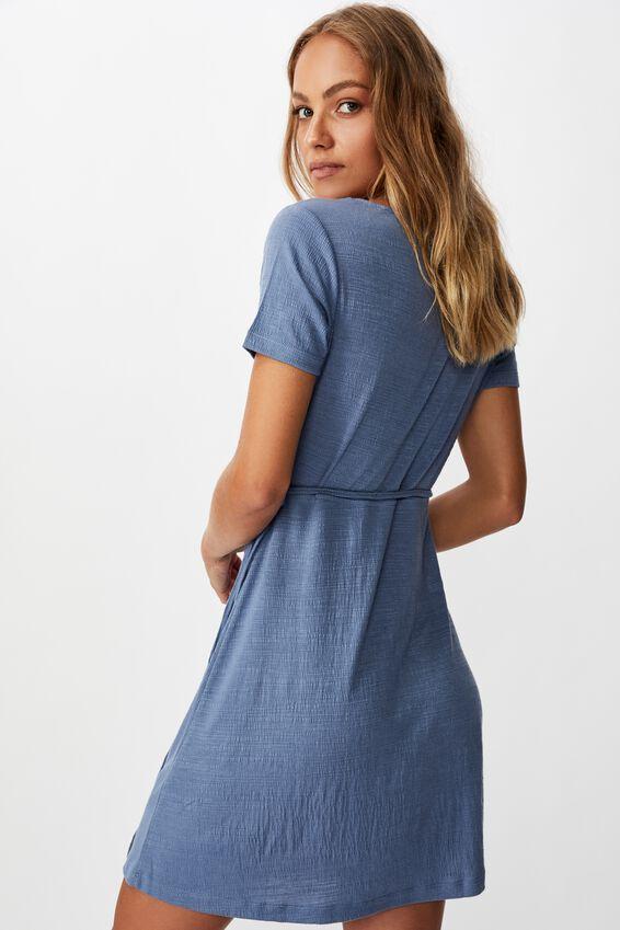 Sasha Short Sleeve Wrap Mini Dress, INFINITY