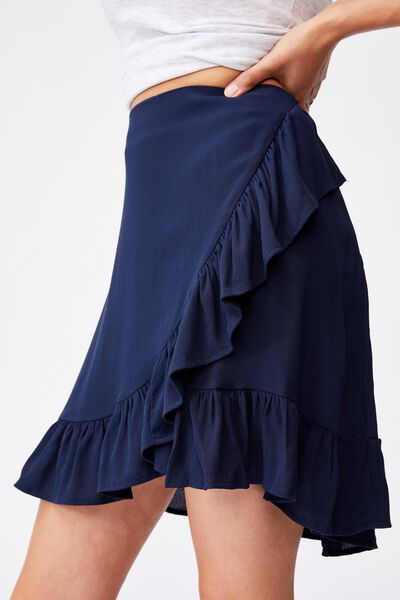Naomi Frill Wrap Mini Skirt, MEDIEVAL BLUE