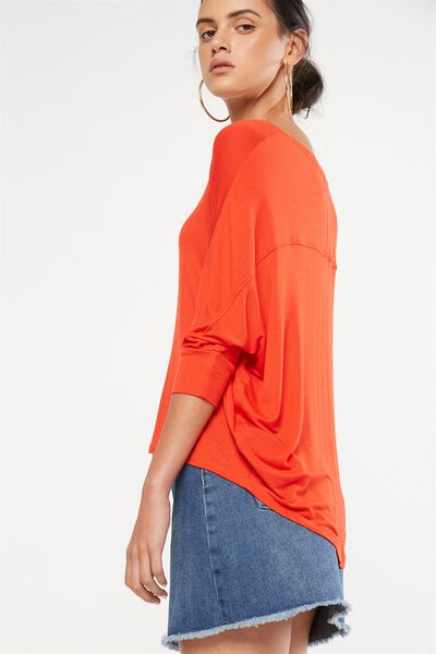 Bianca Long Sleeve Top, FLAME SCARLET
