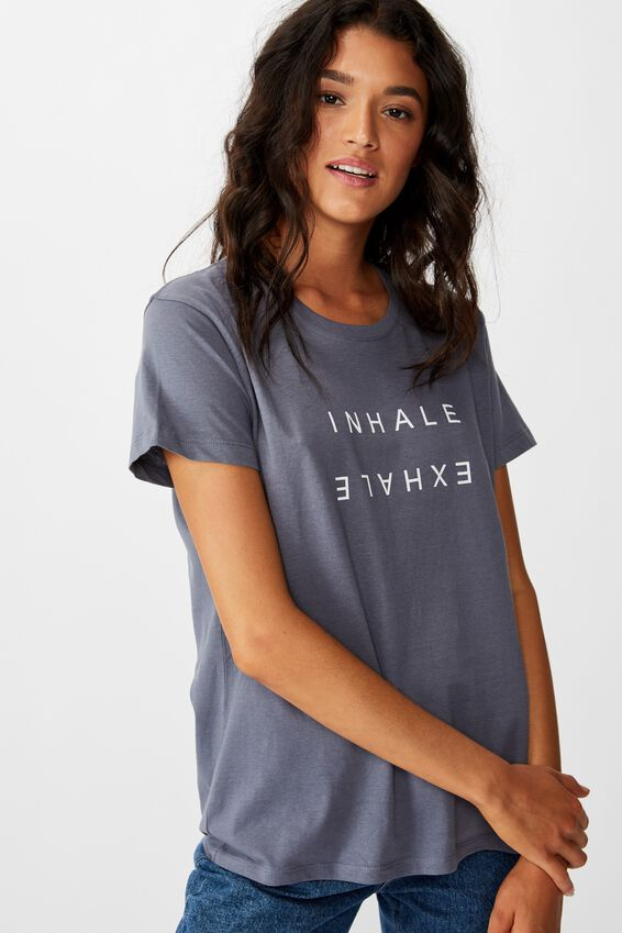 Classic Slogan T Shirt, INHALE EXHALE/GRISAILLE