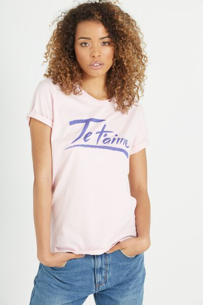 Tbar Fox Graphic T Shirt, JE T'AIME/PINK LADY