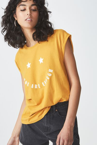 Tbar Kelly Drop Shoulder, YOU ARE ENOUGH/SPRUCE YELLOW