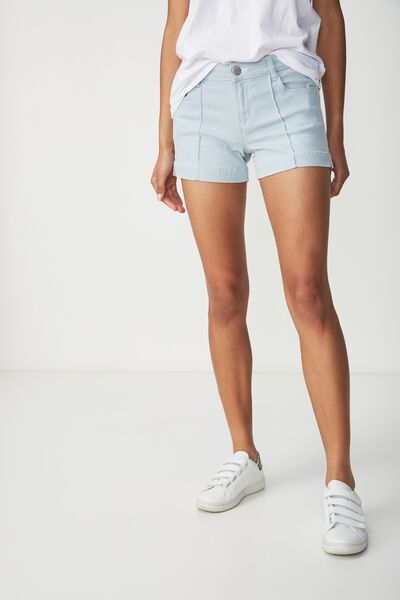 Mid Rise Classic Stretch Denim Short, SKY LIGHT BLUE PINTUCK
