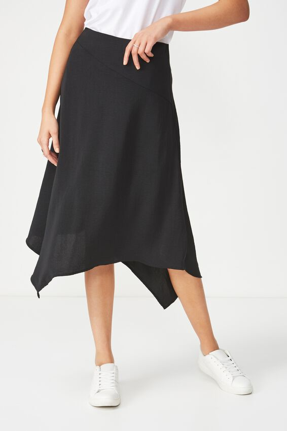 Woven Amy Assymetric Hem Midi Skirt, BLACK