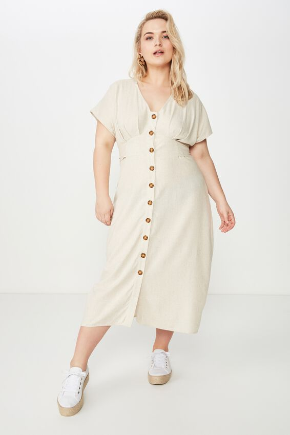 Curve Button Front Midi Dress, LATTE MARLE