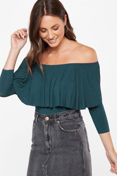 Polly Off The Shoulder Long Sleeve, VELVETY GREEN