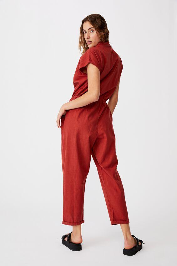 Woven Jasmine Utility Jumpsuit, RED TERRACOTTA