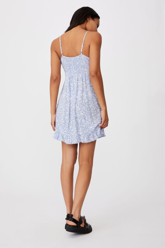 Woven Kiara Tie Front Mini Dress, NICOLE DITSY VINTAGE BLUE MINI