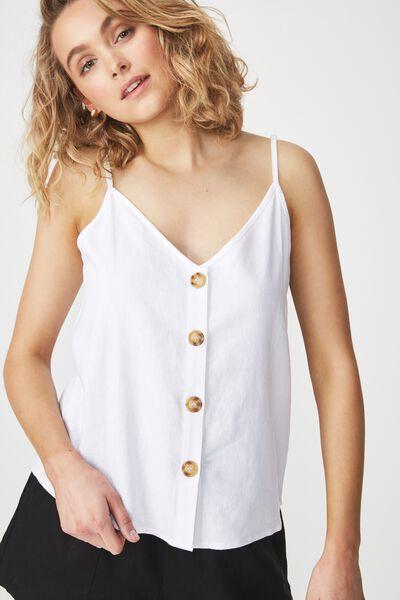 Alexa Button Front Cami, WHITE