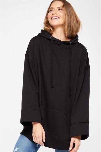 Kiki Kimono Hooded Pullover, BLACK