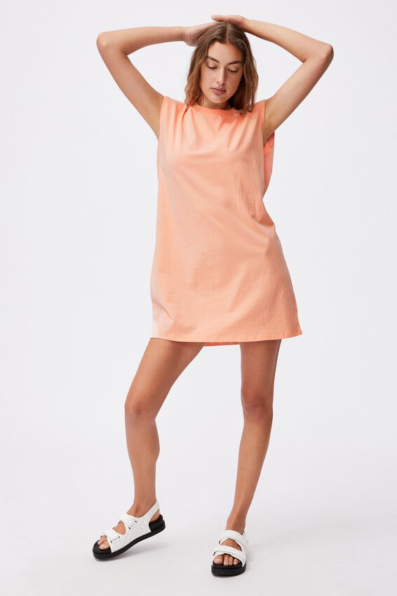 Lew Muscle Tank Mini Dress, PEACH PALM