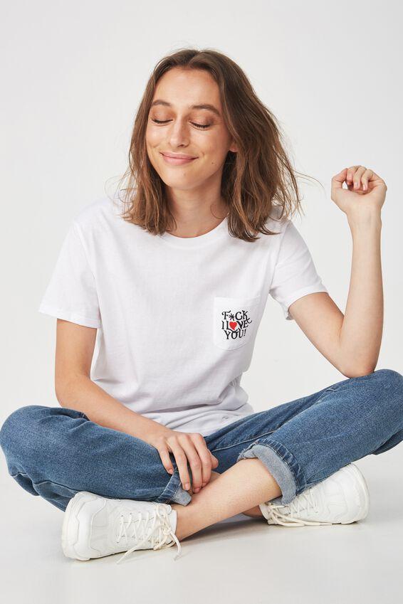 Tbar Fox Graphic T Shirt, I LOVE YOU/WHITE