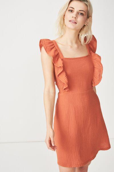 Woven Primrose Praire Pinafore Dress, MAHOGANY