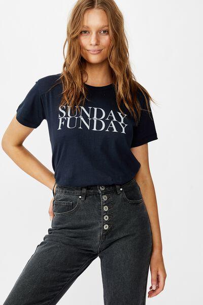 Classic Slogan T Shirt, SUNDAY FUNDAY/MOONLIGHT