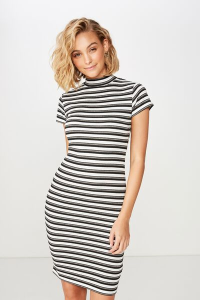 Anissa Short Sleeve Bodycon Midi Dress, LOLA STRIPE BLACK