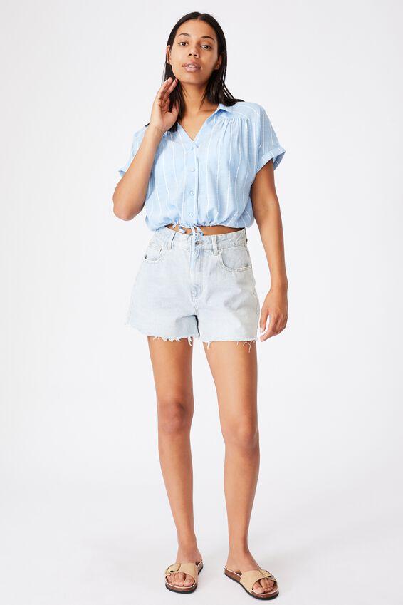 Lexi Tie Shirt, LEILA STRIPE AUTHENTIC BLUE