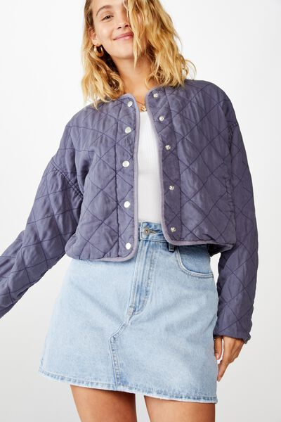 Cropped Quilted Bomber, FOLKSTONE GREY